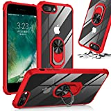 Shockproof Kickstand Clear Phone Case Compatible for [ iPhone SE 2020 & iPhone 7 Case & iPhone 8 ] [Shock Absorption] 12ft. Drop Tested Protective Red Ring Cover (Red-IP 7&8-CRRD)