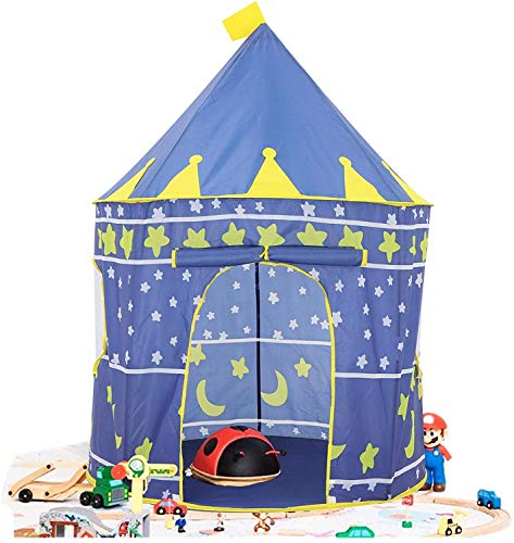 Play tent Castle Tent Toy Portable Collapsible Indoor and Outdoor Tent Children Playhouse Rocket Ship Play Tent Beach Tent (Blue)