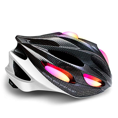 Bike Helmet with Light - Adjustable Bike Helmet with Flexible Padding Comfortable Lightweight Bicycle Helmet with 20 Vents 58-61cm Strap Durable Bike Helmet for Adults Rechargeable ARGB Lights White Hawaii