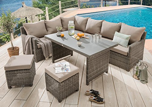Destiny Loungegruppe Bergamo Eckgruppe Mixed Grey Lounge Garnitur Dininglounge