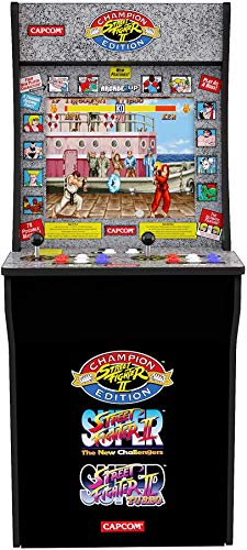ARCADE1UP Retro Arcade Machine Spielautomat (Capcom Super Street Fighter II, 1.20m hoch, 17 Zoll Full Color High Resolution Display, Sound, original Joystick und Steuertasten)
