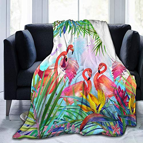 "Dujiea Tropical Pink Flamingo Flannel Fleece Throw Blanket 50""x60"", Living Room/Bedroom/Sofa Couch Warm Soft Bed Blanket for Girls Boys Adults All Season Ultra Soft"