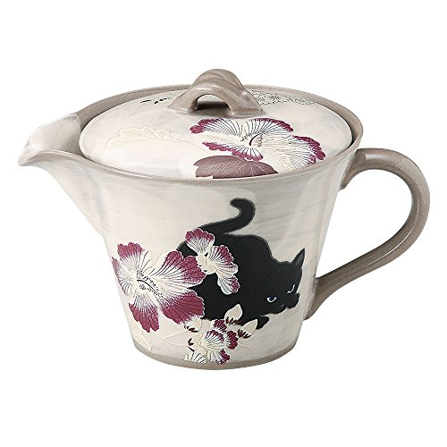 Aitoh Tetera japonesa de cerámica Seto-yaki de 320 ml – Bushoan Hibiscus and Cat 503476