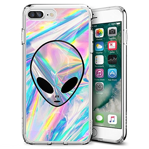 Alien iPhone 7 Plus 8 Plus Case Customized Design Anti-Scratch Flexible Shock Absorption Soft TPU Protective Phone Case for iPhone 7 Plus 8 Plus-Clear