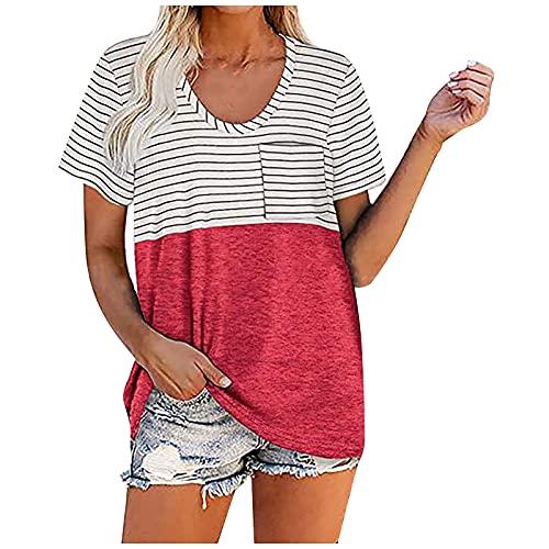 NAQUSHA Blusa de verano para mujer, estilo casual, con cuello en V, manga corta, camiseta básica