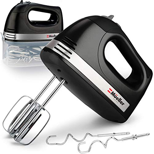 Mueller Electric Hand Mixer, 5 Speed 250W Turbo with Snap-On Storage Case and 4 Stainless Steel Accessories for Easy Whipping, Mixing Cookies, Brownies, Cakes, and Dough Batters - Black