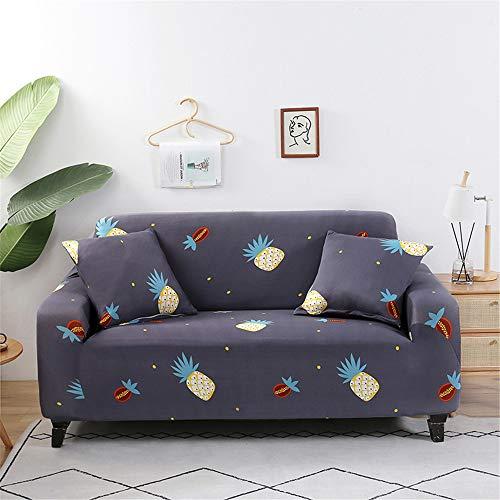 Surwin Funda de Sofá Elástica para Sofá de 1 2 3 4 plazas, Impresión Universal Cubierta de Sofá Cubre Moda Sofá Antideslizante Sofa Couch Cover Protector (piña,4 plazas - 235-300cm)