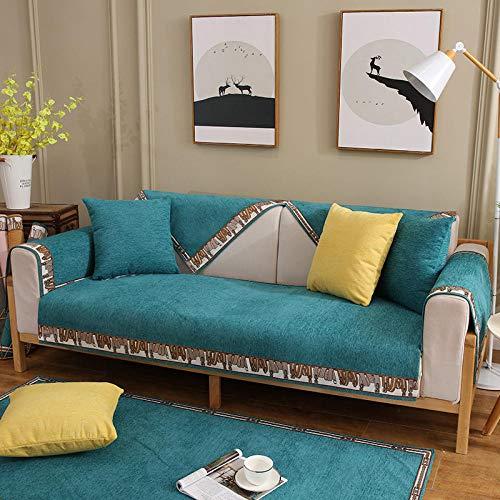 B/H Tejido Poliéster Poliéster Sofa Cubre,Funda de sofá Antideslizante de Color sólido, Funda de sofá Simple-Green_70 * 90cm,poliéster y Elastano Funda sofá