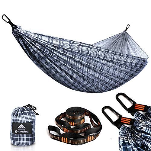 NATUREFUN Hamaca Ultraligera para Camping   300 kg de Capacidad de Carga(275 x 140 cm)   Transpirable y de Secado rápido Hamaca   2 Mosquetones Premium, 2 Eslingas Incluidas