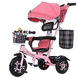 AI-QX Besrey Triciclos Bebes, Triciclo Bebe evolutivo Infantil 7en1 Bicicletas para Bebe niños reclinable Triciclo Cochecito con Cuna Reversible al Padres,Pink