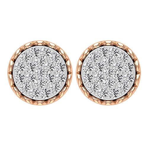 Pendientes de diamante de corte brillante, certificado 3/4 ct, con filigrana grabada en oro antiguo de 14 quilates, pendientes de aniversario, para mujer, oficina, tornillo hacia atrás, 18K Or