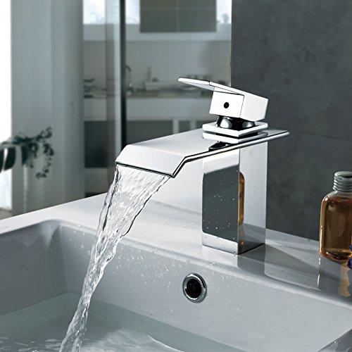 Homelody Chrom Wasserfall Wasserhahn bad Waschbeckenarmatur Waschtischarmatur Einhebelmischer Waschtischbatterie Badarmatur Armatur für Bad - 5