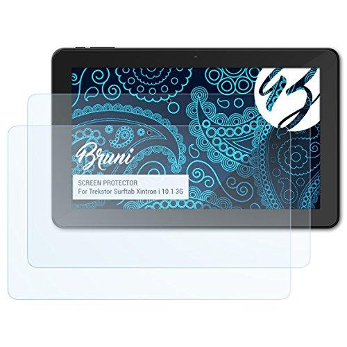 Bruni Schutzfolie kompatibel mit Trekstor Surftab Xintron i 10.1 3G Folie, glasklare Bildschirmschutzfolie (2X)