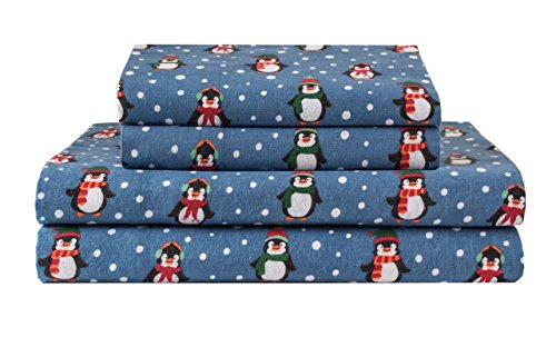 Elite Home Products Deep-Pocketed Winter Nights 100% Cotton Flannel Sheet Set, Full, Penguins
