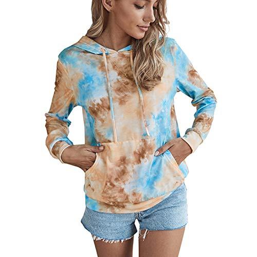 WYZTLNMA Hoodies Women Pocket Hoodie Tie Dye Sweatshirt Blouse Tops Cotton Long Sleeve Plus Size Sweatshirt Streetwear Blue