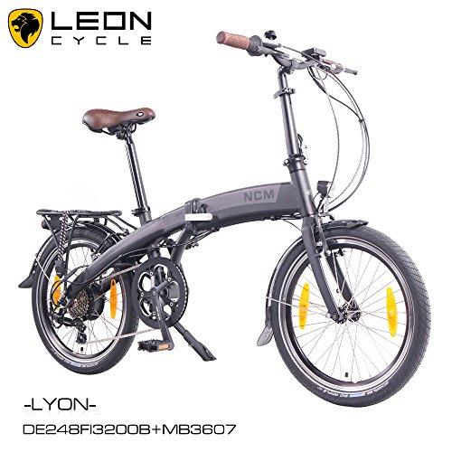 NCM Lyon - Bicicleta eléctrica, 20pulgadas (50 cm), plegable, E-Bike, Pedelec, 36V, 250W, Motor trasero mxus, 7,8Ah, batería de celdas de Samsung, color antracita/negro mate