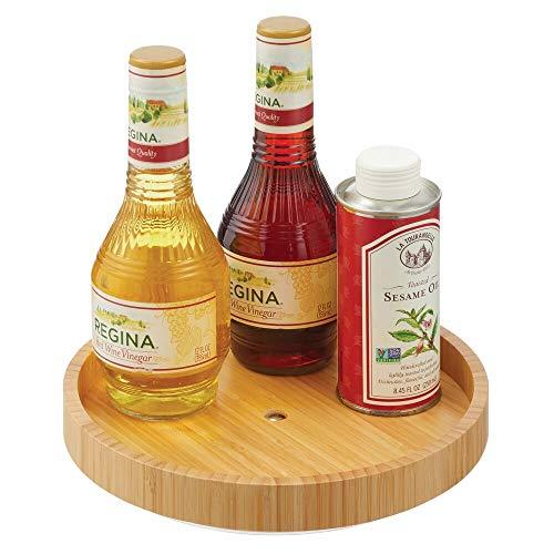 mDesign Especiero Giratorio – Estante para Especias, Pimienta, Ingredientes de Hornear o conservas de bambú – Bandeja giratoria Redonda para aparador o armarios de Cocina – Color Natural