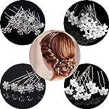 20 horquillas para el pelo de novia, accesorios para el cabello en forma de U, horquillas para el pelo con forma de flor de cristal, rosas de diamante blanco para mujeres y niñas, bodas, bolas