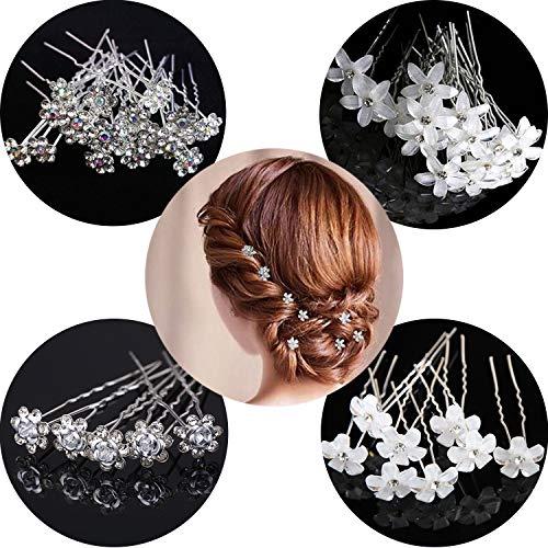 20 pezzi forcine da sposa, accessori per lo styling dei capelli da sposa, forcine a forma di U, strass a forma di fiore, forcine con diamante bianco, per donne ragazze, palla per matrimoni