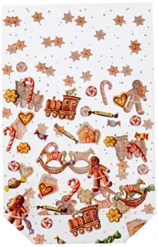 Ursus 5860000 - Geschenk Bodenbeutel, Süße Weihnacht, 10 Stück, aus lebensmittelechter Folie, ca. 14,5 x 23,5 cm, transparent, bedruckt, ideal für kleine Überraschungen