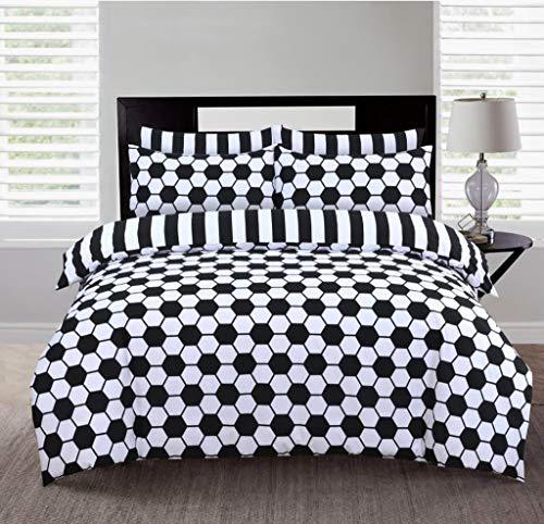 Carefree Dream Bedding - Set copripiumino reversibile 100% cotone e 2 federe (strisce e esagonali, super King)