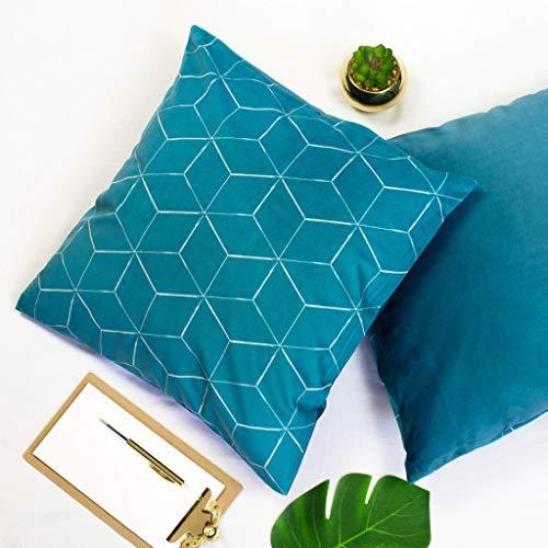Offtopic Juego de 2 fundas de cojín para sofá, 45 x 45 cm, de terciopelo suave, cojines decorativos elegantes con diseño italiano y parte trasera lisa   lavable a máquina   Cube verde