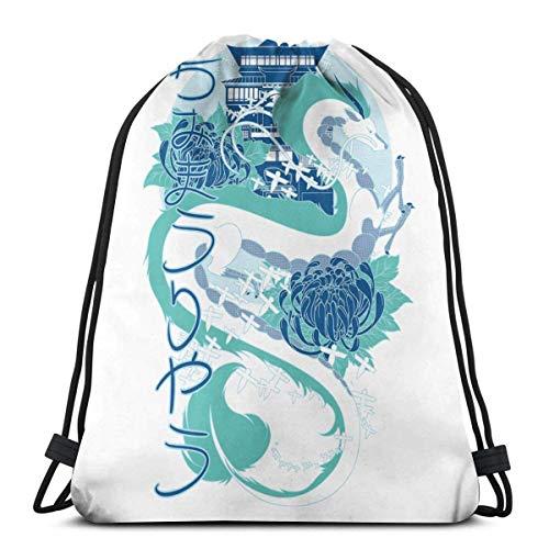 La città incantata Dragon Drawstring Bags Sport Gym Zaino Storage Goodie Cinch Bags