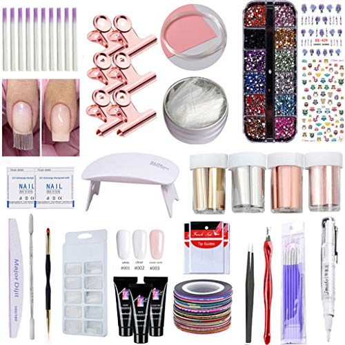 Jchen Nail Extension Gel Kit,DIY Fiberglass Nail Extension Sets Salon Long Nail Kit with LED Lamp,Nail Art Accessories Home Manicure Tools,Best Gift for Mother's Day (Multicolor)