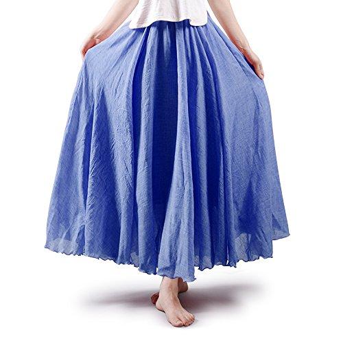 Aeslech Gonna lunga da donna, stile bohémien, in cotone e lino - Blu - 105 cm-Lunghezza