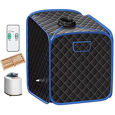 Giantex Portable Steam Sauna Spa 2L Folding Private Sauna Tent W/Chair Foot Massage Roller Absorbent Pad and 9 Adjustable Temperature Levels Spa Tent for Weight Loss Stress Fatigue