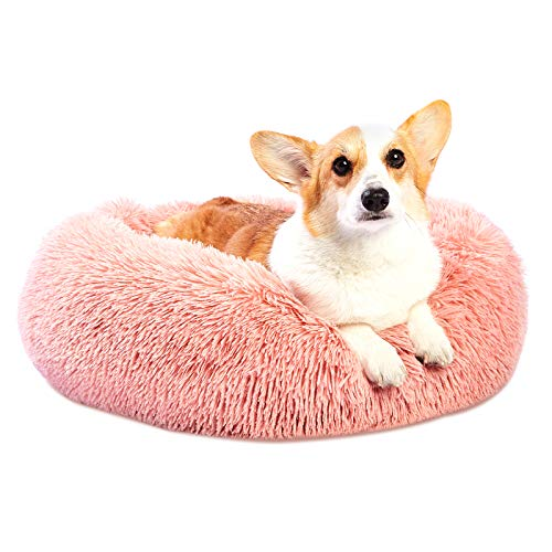 Toozey Cosy Donut Dog Bed Medium Washable, Fluffy Plush Cuddler Calming Dog Bed Kennel, Snuggle Pet Round Cushion Sofa Bed for Cat and Puppy Small Medium Dog, Anti-Slip Bottom, Pink, Ø 60cm/23.6in