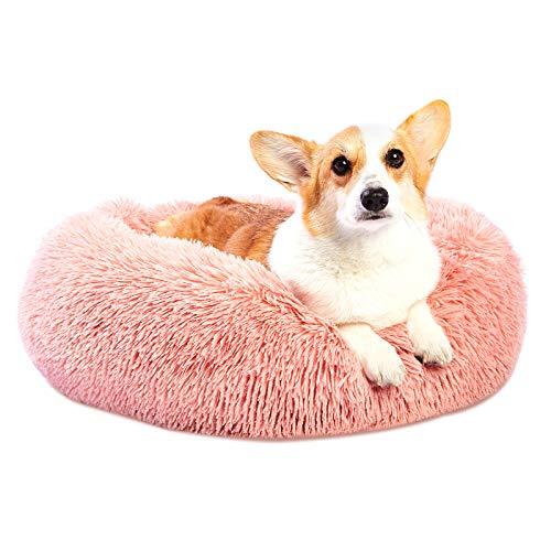 Toozey Cama para Perros Gatos Lavable, Cama Redonda Felpa para Perros Antiestres, Cojín para Perrito Pequeños Medianos Grandes Perros y Gatos, Suelo Antideslizante, Rosa, Ø 60CM - L