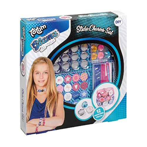 Totum Glamz Slide Charms Craft Set: Create 2 Bracelets and 1 Collar with Different Charms and Great Stickers