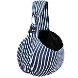 CUBY Haustiere Welpen Kleine Hunde Katze Sling Pet Tragetuch Rucksack   Single Schulter Pet Bag für Reisen   Verstellbare Schultergurte (Blaue Streifen)