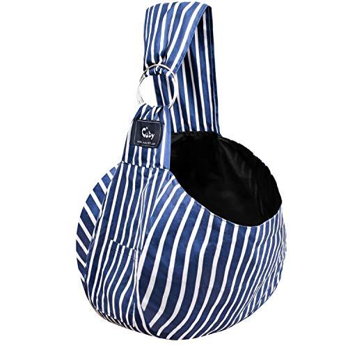 CUBY Haustiere Welpen Kleine Hunde Katze Sling Pet Tragetuch Rucksack | Single Schulter Pet Bag für Reisen | Verstellbare Schultergurte (Blaue Streifen)