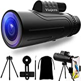 Viajero Monocular Telescope, 12X50 HD Monocular for Android iPhone, Waterproof Zoom Telescope for Adults Kids with Smartphone Holder & Tripod, BAK4 Prism & FMC for Bird Watching Hunting
