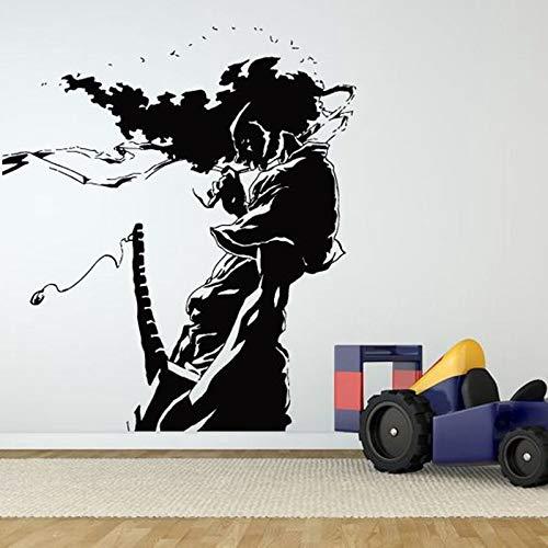 Dwzfme Adhesivos Pared Pegatinas de Pared Kendo Pegatina Samurai calcomanía Ninja Cartel Vinilo Arte Guerrero decoración Mural Kendo Pegatina 58x67cm