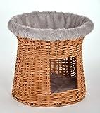animal-design Korbturm Schlafplatz für kleine Hunde oder Katzen 'Natur' aus Weidengeflecht, Farbe:grau