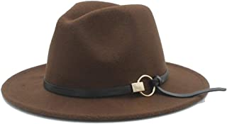2019 Mens Womens Hats Womens Fashion Winter Fedora Hat for Women Lady Outdoor Travel Casual Church Hat Pop Wide Brim Hat Adult Jazz Hat Size 56-58CM Wool Polyester (Color : Coffee, Size : 56-58)
