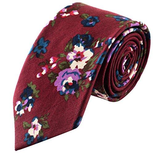 Man of Men Corbata de flores para hombre - Granate