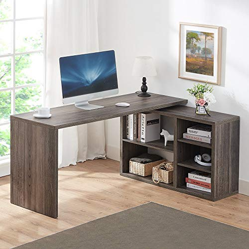Rustic wood corner desk with storage shelving