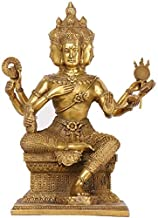 Statue Brass Buddha Figurine Statue Hindu Brahma God Four Faced Vedas Sculpture Prosperity Home Office Decoration,Brass,Co...