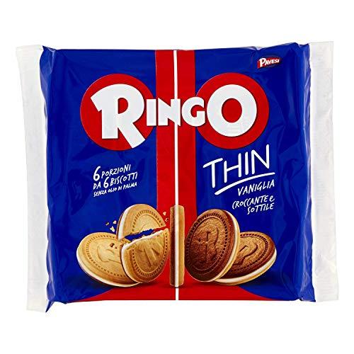 Pavesi Biscotti Ringo Thin Vaniglia, Snack per Merenda o Pausa Studio, senza Olio di Palma - Confezione da 234 g