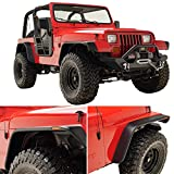 KML Front and Rear Fender Flare Flat Style with LED Side Light Fit for 87-95 Wrangler YJ