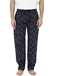 London BEe Pyjamas for Men | Mens Long Cotton Pyjama Bottom Pants for Summer or Winter | Navy with White Tree Print