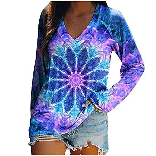 Women Sexy V-Neck Tunic Tops to Wear with Leggings Fashion Tie Dye Floral Print Long Sleeve Shirts Fall Casual Blouses