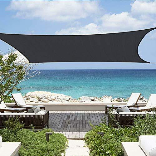 WOLJW schaduw tuin en outdoor patio werf partij zonnebrandcrème luifel UV met grommets opvouwbaar duurzaam polyester zwart