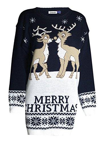 Girlzwalk Damen-Weihnachtspullover, mit Rentier-Weihnachtsbaum-Stern-Motiv. Gr. ML = 38-40, 2 Reindeer Navy