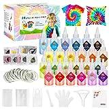 Gifort Tie Dye Kit, Textiles de Tela Colores Vibrantes Pinturas Ropa Tinte Graffiti para Proyectos de Bricolaje y Actividades de Fiesta (24 Colores)