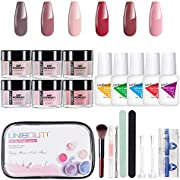 Dipping Powder Nail Starter Kit - 6 Colored Dip Powder System Nail Kit, Acrylic Dipping System for French Nail Manicure Nail Art Set Essential Kit All-in-One Travel kit (P-08)